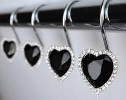 Decorative Curtain Hooks Heart Shower Curtain Etsy