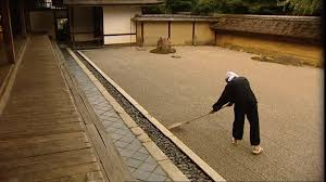 rock garden man rake kyoto japan sd stock video 530 652