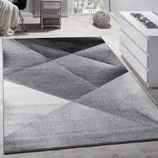Large Modern Rug by Designer Carpet Modern Geometric Pattern Short Pile Grey Black