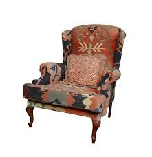 Upholstered Wingback Chair Vintage Kilim Upholstered Wingback Chair Ebth