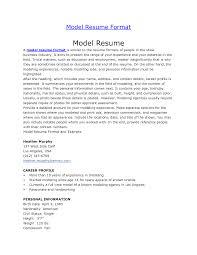 resume for models with no experience resume for kids resume badak model resume sample
