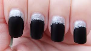 easy black and silver colour blocking nail art design youtube