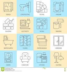 vector set of modern flat line icons for house construction stock