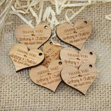 personalized wooden gifts laser engraved wooden wedding gift tag heart design with raffia cheap