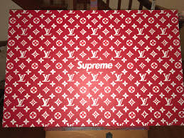 hand painted supreme x louis vuitton acrylic on gallery wrapped arthand