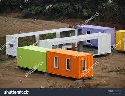 makeshift metal buildings made shipping containers stock photo