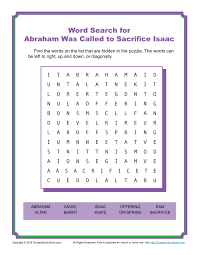 abraham was called to sacrifice isaac word search children u0027s