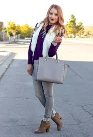 simple layers fur vest u0026 grey skinny jeans glamour zine