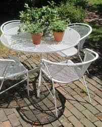 Retro Metal Patio Chairs Retro Metal White Patio Chairs With Small Space Garden With Nice