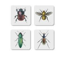 insecte de cuisine set de 4 dessous de verre insectes magpie