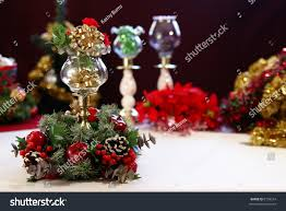 christmas table decorations candle holders centerpiece stock photo