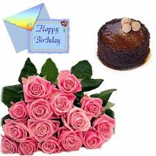 buy happy birthday card with roses and cake online best prices