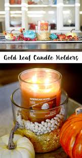 gold leaf home decor modern fall decor with gold leaf candle holders tutorial