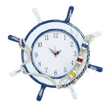 Home Decor Wall Clock Nautical Maritime Style Anchor Ship Wheel White Blue Wall Clock