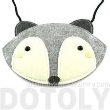 fox wolf face shaped xbody felt bag for kids in grey u2013 dotoly