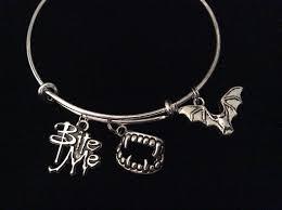 halloween charm bracelet bite me charm with vampire teeth bat silver expandable charm