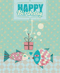 fish birthday card u2014 stock vector yurumi 25143595