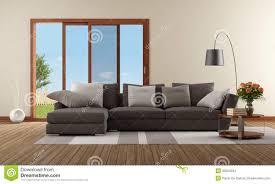 Wohnzimmer Sofa Modernes Wohnzimmer Mit Braunem Sofa Stock Abbildung Bild 36824342