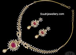 simple diamond sets simple diamond ruby necklace set jewellery designs