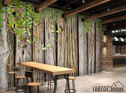 wooden leaves wall wooden wall with green leaves restaurant wall murals wallpaper