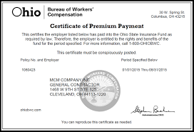 bureau workers comp mcm company inc cleveland oh construction management