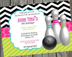bowling birthday party invitation bowling personalized