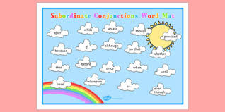 themed subordinate conjunctions word mat connectives