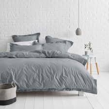 canningvale vintage wash quilt cover set mid grey king was
