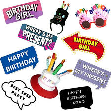 photo props happy birthday girl photo booth props multi pack