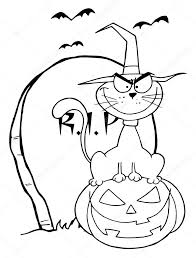 outlined halloween cat on pumpkin near tombstone u2014 stock photo