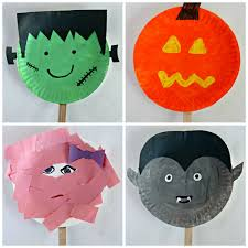 paper plate halloween stick puppets easy halloween craft for kids