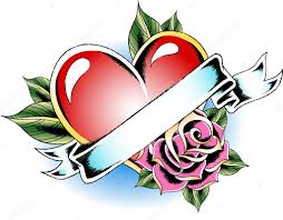 heart with rose tattoo u2014 stock vector pauljune 10093187