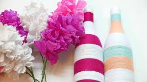 popular items for decor paper flower on etsy hanging ornament reuse beer bottle to make a flower pot diy home decor decorating ideas fleur de