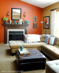 orange livingroom orange accent wall in living room centerfieldbar