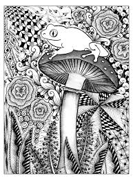 forest frog flowers and vegetation coloring pages for adults