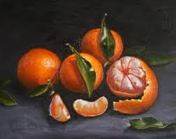 Tangerine Home Decor Still Life Painting Etsy