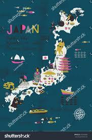 Japan Design Cartoon Map Japan Print Design Stock Vector 473545885 Shutterstock