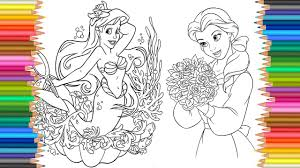 coloring pages disney princess belle ariel drawing pages