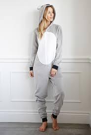 pj jumpsuit lyst forever 21 koala plush pj jumpsuit in gray
