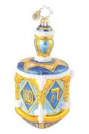 glass dreidel collectible dreidel hanukkah products floral and blue
