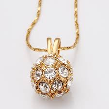 small ball pendant necklace images Vogue 18k gold plated crystal ball pendant transfer bead necklace jpg