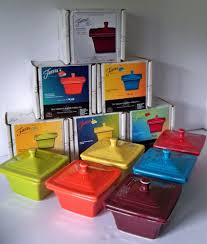 set of 6 belk store exclusive fiesta square covered box claret