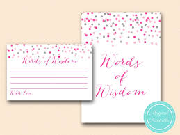 words of wisdom bridal shower pink and silver bridal shower printable magical printable