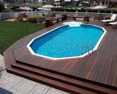 modern above ground pool decks ideas wooden deck round pool lawn