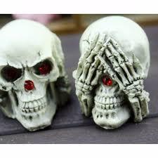 3pcs set human skull decoration prop skeleton head halloween