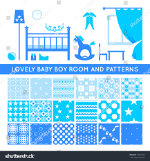 set seamless patterns baby boy room stock vector 337215749