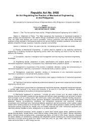 Sample Resume For Ojt Mechanical Engineering Students by Ra8495 Mechanical Engineering Law