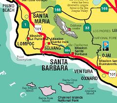 santa barbara california map california visitor s map