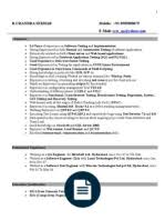 Software Testing Fresher Resume Sample by Testing Fresher Resume 1 Information Technology Management