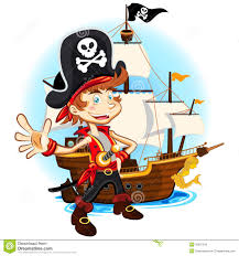 pirate kid and his big war ship royalty free stock images image